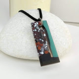 Matte Turquoise Bar, Fused Glass Necklace, Fused Glass Pendant, Fused Glass Jewelry, Dichroic Glass