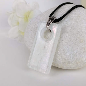 White Silver Rectangle, Fused Glass Necklace, Fused Glass Pendant, Fused Glass Jewelry