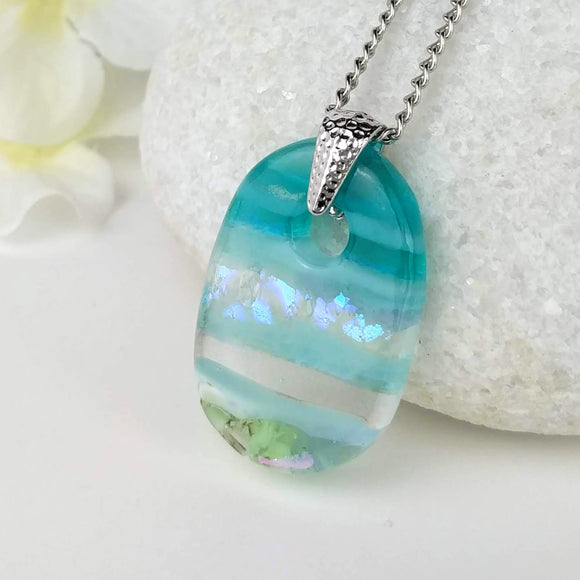 Aqua Turquoise Oval, Fused Glass Necklace, Fused Glass Pendant, Fused Glass Jewelry, Dichroic Glass