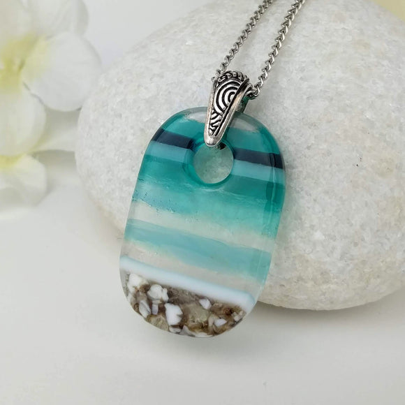 Aqua Turquoise Oval, Fused Glass Necklace, Fused Glass Pendant, Fused Glass Jewelry, Dichroic Glass, Glass Jewelry