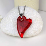 Bright Red Heart, Fused Glass Necklace, Fused Glass Pendant, Fused Glass Jewelry, Dichroic Glass, Glass Jewelry