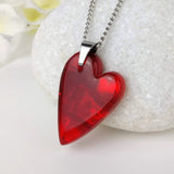 Bright Red Heart, Fused Glass Necklace, Fused Glass Pendant, Fused Glass Jewelry, Dichroic Glass