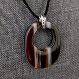 Amber Oval, Fused Glass Necklace, Fused Glass Pendant, Fused Glass Jewelry, Dichroic Glass