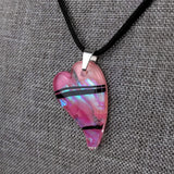 Pink Black Heart, Fused Glass Necklace, Fused Glass Pendant, Fused Glass Jewelry, Dichroic Glass, Glass Jewelry