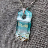 Aqua Turquoise Rectangle, Fused Glass Necklace, Fused Glass Pendant, Fused Glass Jewelry, Dichroic Glass, Glass Jewelry