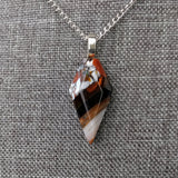 Amber Stone Faceted Crystal Fused Glass Necklace, Fused Glass Pendant, Modern Minimalist Jewelry