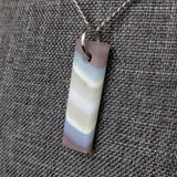 Matte White Bar, Fused Glass Necklace, Fused Glass Pendant, Fused Glass Jewelry, Dichroic Glass