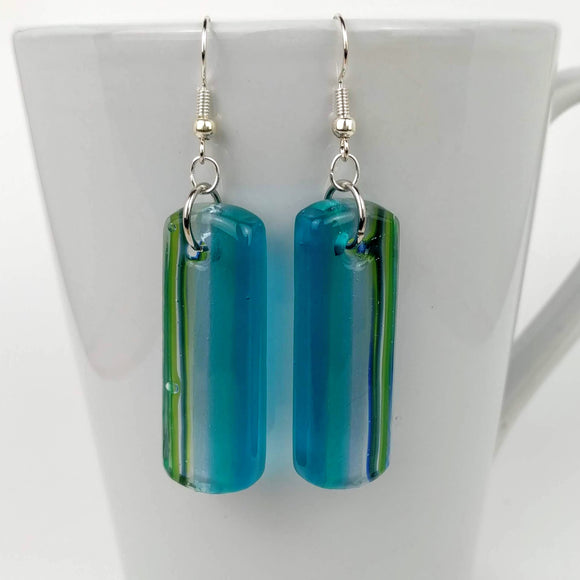 Aqua Blue Dangle, Fused Glass Earrings, Handmade Earrings, Fused Glass Jewelry, Dichroic Glass