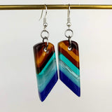 Turquoise Amber Dangle, Fused Glass Earrings, Handmade Earrings, Fused Glass Jewelry, Dichroic Glass