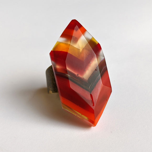 Ruby Red Amber Faceted Statement Ring, Modern Cocktail Ring, Chunky Crystal Ring, Adjustable Ring