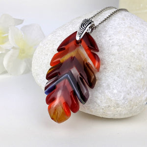 Ruby Red Amber Orange Feather, Fused Glass Necklace, Fused Glass Pendant, Fused Glass Jewelry, Handmade Boho Fashion Necklace