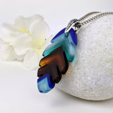 Turquoise Aqua Amber Blue Feather, Fused Glass Necklace, Fused Glass Pendant, Fused Glass Jewelry