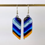 Aqua Blue Amber Dangle, Fused Glass Earrings, Handmade Earrings, Fused Glass Jewelry