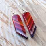 Ruby Red Amber Orange Dangle, Fused Glass Earrings, Handmade Earrings, Fused Glass Jewelry
