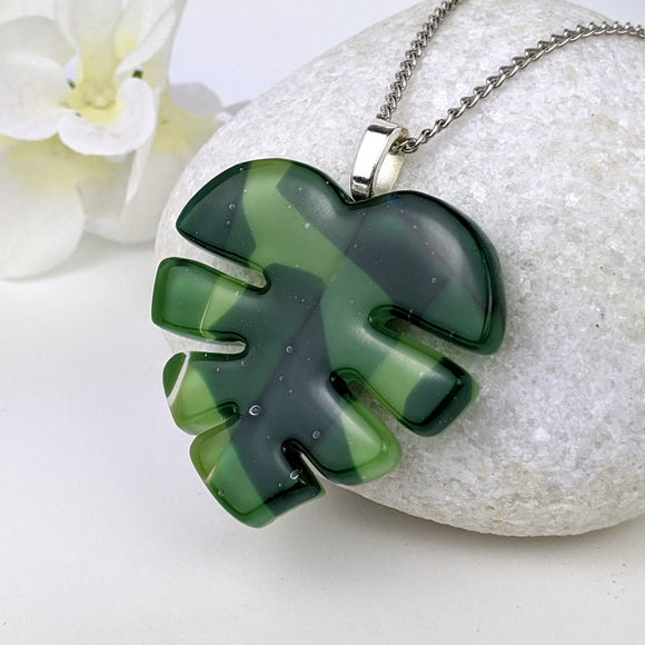 Green Monstera Leaf, Fused Glass Necklace, Fused Glass Pendant, Fused Glass Jewelry