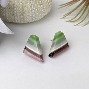 Lavender Green Stripe Drop Stud, Fused Glass Earrings, Unique Handmade Earrings, Fused Glass Jewelry