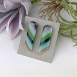 Lavender Turquoise Stripe Stud, Fused Glass Earrings, Unique Handmade Earrings, Fused Glass Jewelry