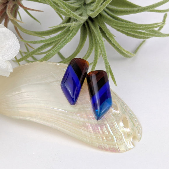Blue Amber Drop Stud, Fused Glass Earrings, Unique Handmade Earrings, Fused Glass Jewelry