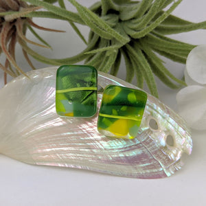 Green Yellow Drop Stud, Fused Glass Earrings, Unique Handmade Earrings, Fused Glass Jewelry