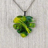 Green Yellow Monstera Leaf, Fused Glass Necklace, Fused Glass Pendant, Fused Glass Jewelry