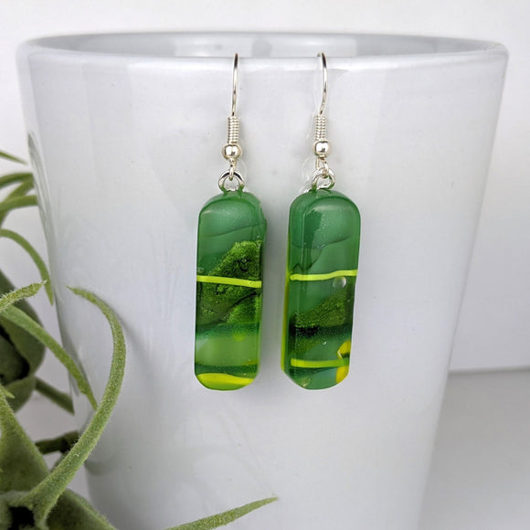 Green Yellow Dangle, Fused Glass Earrings, Unique Handmade Earrings, Fused Glass Jewelry