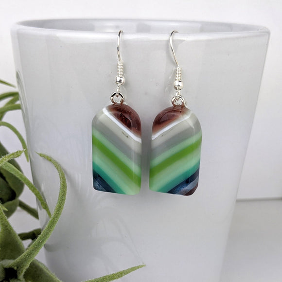 Lavender Green Stripe Dangle, Fused Glass Earrings, Unique Handmade Earrings, Fused Glass Jewelry