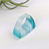 Aqua Blue White Statement Ring, Cocktail Ring, Hand Carved Chunky Ring, Modern Big Glass Ring