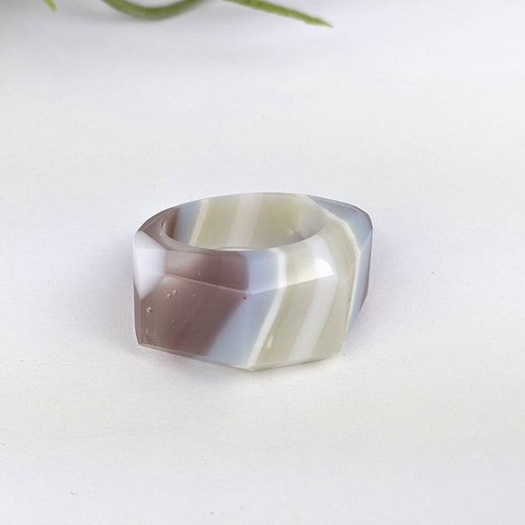 Lavender White Faceted Statement Ring, Cocktail Ring, Hand Carved Chunky Ring, Big Glass Ring
