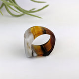 Dark Amber Gray Faceted Statement Ring, Cocktail Ring, Hand Carved Chunky Ring, Big Glass Ring