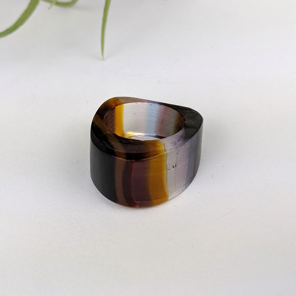 Amber Clear Lavender Statement Ring, Cocktail Ring, Hand Carved Chunky Ring, Modern Big Glass Ring