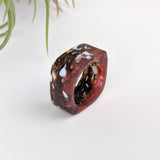 Amber Stone Square Statement Ring, Cocktail Ring, Hand Carved Chunky Ring, Modern Big Glass Ring