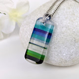 Aqua Blue Green Stripe, Fused Glass Beach Necklace, Glass Pendant, Fused Glass Ocean Jewelry