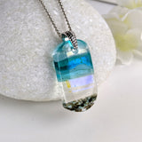 Aqua Turquoise Blue Seascape, Fused Glass Beach Necklace, Glass Pendant, Fused Glass Ocean Jewelry