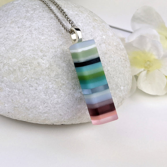 Lavender Turquoise Stripe, Fused Glass Necklace, Handmade Layer Pendant, Modern Minimal Bar Necklace