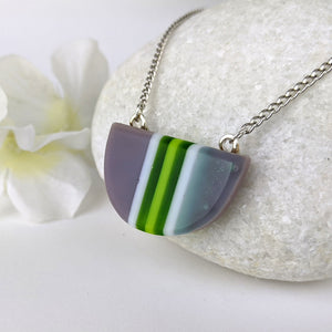 Gray Green White Stripe, Fused Glass Semi-Circle Necklace, Modern Minimal Geometric Necklace