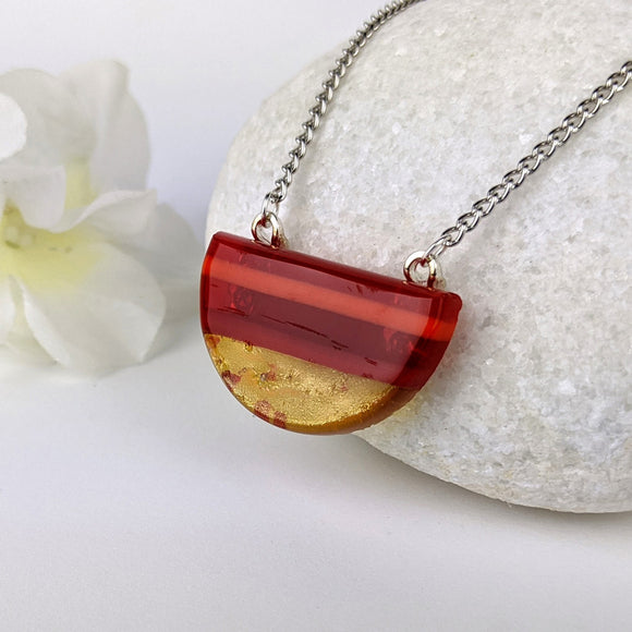 Red Copper Orange Stripe, Fused Glass Semi-Circle Necklace, Modern Minimal Geometric Necklace