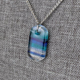 Aqua Turqouise Blue Ocean, Fused Glass Necklace, Fused Glass Pendant, Dichroic Glass Jewelry