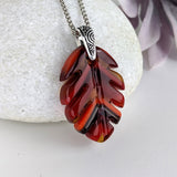 Ruby Red Amber Orange Feather Leaf, Fused Glass Necklace, Fused Glass Pendant, Native Jewelry