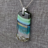 Aqua Turquoise Blue Seascape, Fused Glass Beach Necklace, Glass Pendant, Glass Ocean Jewelry