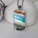 Aqua Turquoise Blue Seascape, Fused Glass Beach Necklace, Glass Pendant, Dichroic  Ocean Jewelry