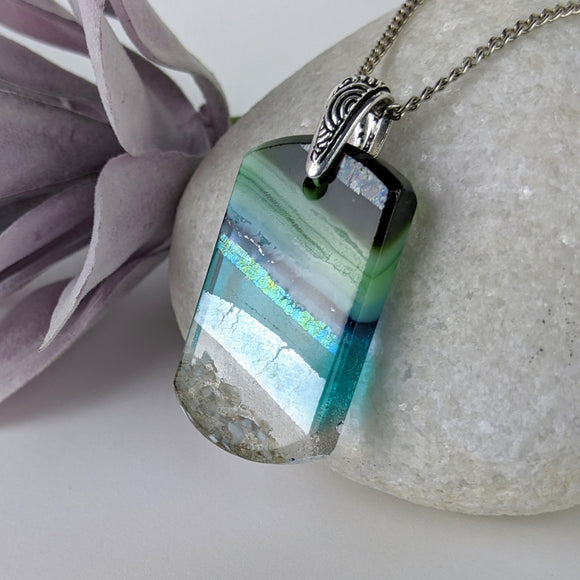 Aqua Turquoise Blue Seascape, Fused Glass Beach Necklace, Glass Pendant, Sea Glass Ocean Jewelry