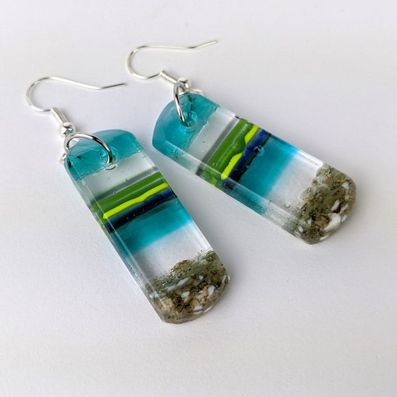 Aqua Turquoise Dangle, Fused Glass Earrings, Handmade Earrings, Dichroic Earrings, Beach Jewelry