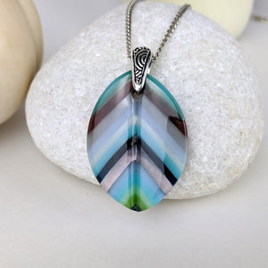 Lavender Turquoise Gray Feather Leaf, Fused Glass Necklace, Pastel Glass Pendant, Native Jewelry