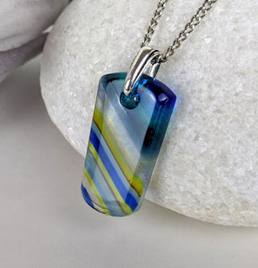 Blue Angled Stripe, Fused Glass Necklace, Glass Pendant, Clear Blue Jewelry
