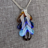 Turquoise Aqua Amber Blue Oak Leaf, Fused Glass Necklace, Fused Glass Pendant, Native Jewelry