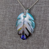Turquoise Aqua Amber Blue Feather Leaf, Fused Glass Necklace, Fused Glass Pendant, Native Jewelry