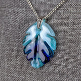 Turquoise Aqua Blue Feather Leaf, Fused Glass Necklace, Fused Glass Pendant, Native Jewelry