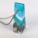 3D Aquascape Tower Pendant, Ocean Beach Necklace