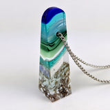 3D Aquascape Tower Pendant, Dichroic Ocean Beach Necklace