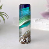 3D Aquascape Crystal Tower, Dichroic Ocean Beach Mini Sculpture